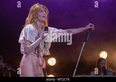 Swansea, Wales. 27th May 2018, Florence + the Machine Closing day two of The Biggest Weekend in Singleton Park, Swansea  on 5th May, 2018, Wales.© Jason Richardson / Alamy Live News - Stock Photo