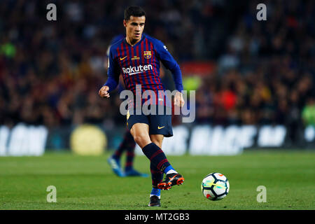 Barcelona, Spain. 20th May, 2018. Philippe Coutinho (Barcelona), May 20, 2018 - Football/Soccer : Spanish Primera Division 'Liga Santander' match between FC Barcelona 1-0 Real Sociedad at Camp Nou stadium in Barcelona, Spain. Credit: D.Nakashima/AFLO/Alamy Live News - Stock Photo