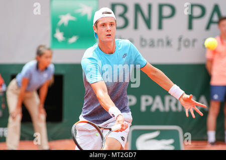 Paris, France. 27th May, 2018. Maxime Janvier (FRA) Tennis : Maxime Janvier of France during the Men's singles first round match of the French Open tennis tournament against Kei Nishikori of Japan at the Roland Garros in Paris, France . Credit: AFLO/Alamy Live News - Stock Photo