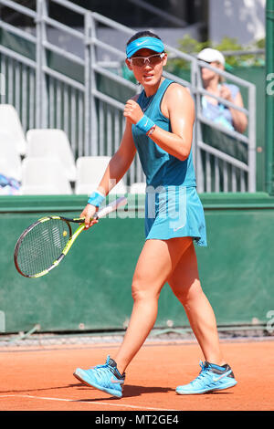 Paris, France. 27th May, 2018. Saisai Zheng (CHN) Tennis : Saisai Zheng of China during the Women's singles first round match of the French Open tennis tournament against Ekaterina Makarova of Russia at the Roland Garros in Paris, France . Credit: AFLO/Alamy Live News - Stock Photo