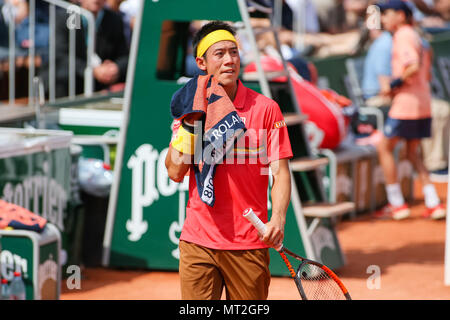 Paris, France. 27th May, 2018. Kei Nishikori (JPN) Tennis : Kei Nishikori of Japan during the Men's singles first round match of the French Open tennis tournament against Maxime Janvier of France at the Roland Garros in Paris, France . Credit: AFLO/Alamy Live News - Stock Photo