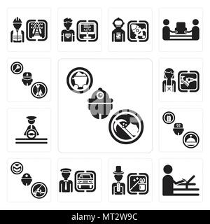 Set Of 13 simple editable icons such as Miner, De, Magician, Chauffeur, Soldier, Concierge, Driver, Hairdresser, Plumber can be used for mobile, web U - Stock Photo