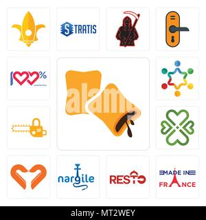 Set Of 13 simple editable icons such as krave, made in france, resto, nargile, handicraft company, four  hearts, chainsaw, peoples, 100 satisfaction c - Stock Photo