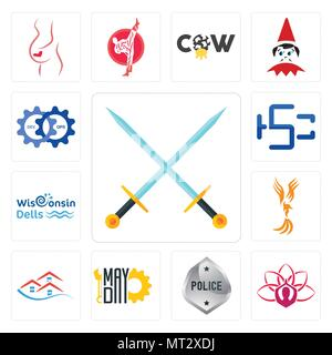 Set Of 13 simple editable icons such as excalibur, lotus, generic police, mayday, emlak, anka, wisconsin dells, hsc, devops can be used for mobile, we - Stock Photo