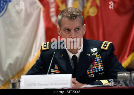 Army Lt. Gen. Daniel Hokanson, vice chief, National Guard Bureau, addresses the Reserve Chiefs' Panel at the Reserve Officers Association, Arlington, Va., July 22, 2017. (U.S. Army National Guard photo by Sgt. 1st Class Jim Greenhill) - Stock Photo