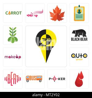 Set Of 13 simple editable icons such as, blood drop, beat, auto shop, black bear, olive can be used for mobile, web UI - Stock Photo