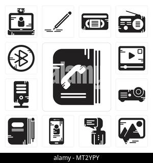 Set Of 13 simple editable icons such as Phone book, Picture, User, Smartphone, Book, Projector, Server, Video player, tooth can be used for mobile, we - Stock Photo