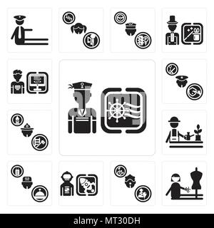 Set Of 13 simple editable icons such as Sailor, Dressmaker, Clown, Spaceman, Concierge, Gardener, Firefighter, Policeman, Programmer can be used for m - Stock Photo