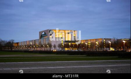 Berlin, Germany - April 3, 2017: Bundeskanzleramt building in Berlin at night - Stock Photo