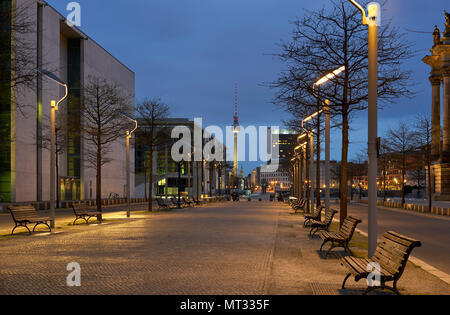 Berlin, Germany - April 3, 2017: Street between the Paul Löbe Haus and the German Parliament - Stock Photo
