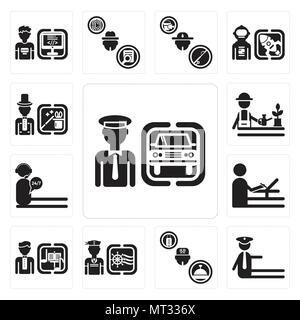 Set Of 13 simple editable icons such as Chauffeur, traffic police, Concierge, Sailor, Director, De, call center, Gardener, Magician can be used for mo - Stock Photo