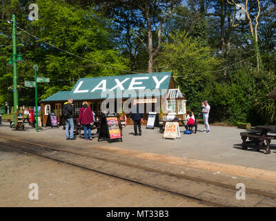 Laxey railway station in village of Laxey on Isle of Man principal intermediate station on Manx Electric Railway and  lower terminus of Snaefell Mount - Stock Photo