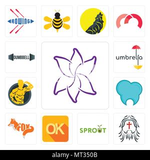Set Of 13 simple editable icons such as lily flower, , sprout, dental clinic, muscle man, umbrella, dumbbell can be used for mobile, web UI - Stock Photo