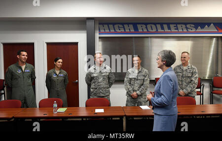 Secretary of the Air Force Heather Wilson talks to attendees at the Air Force Sergeants' Association conference in Reno, Nevada, July 25, 2017.  (U.S. Air Force photo/Scott M. Ash) - Stock Photo