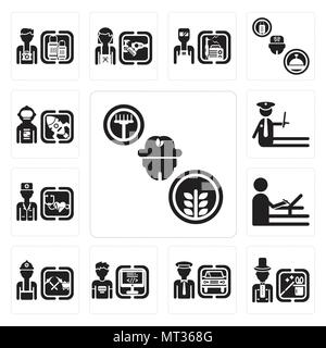 Set Of 13 simple editable icons such as Farmer, Magician, Chauffeur, Programmer, Miner, De, Doctor, Police, Spaceman can be used for mobile, web UI - Stock Photo