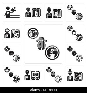 Set Of 13 simple editable icons such as Gardener, Magician, Courier, Programmer, Sailor, DJ, Secretary, Astronaut, Spaceman can be used for mobile, we - Stock Photo