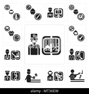 Set Of 13 simple editable icons such as Surgeon, Musician, Spaceman, Student, Policeman, Detective, Gardener, Astronaut, Professor can be used for mob - Stock Photo