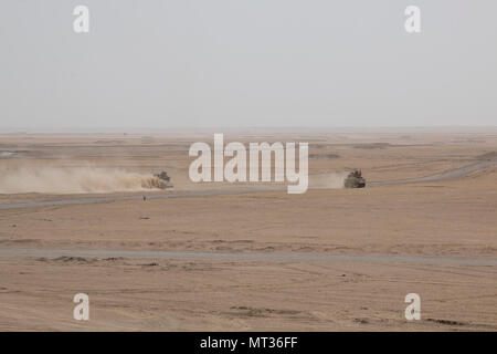 An M2A3 Bradley armored reconnaissance crew assigned to 6th Squadron, 9th Cavalry Regiment 'Saber,' 3rd Armored Brigade Combat Team, 1st Cavalry Division maneuvers alongside an M1A2 Abrams Main Battle Tank crew providing direct fire support for the reconnaissance element during Hunter-Killer training at the Kuwait Multipurpose Range Complex June 7. Saber Squadron is developing Hunter-Killer as a concept, teaming Bradleys up with tanks for increased firepower and speed in the reconnaissance mission. (U.S. Army photo by Staff Sgt. Leah R. Kilpatrick/released) - Stock Photo