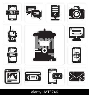 Set Of 13 simple editable icons such as Mailbox, Email, Smartphone, Vhs, Browser, Monitor, Walkie talkie can be used for mobile, web UI - Stock Photo
