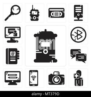 Set Of 13 simple editable icons such as Mailbox, User, Photo camera, Smartphone, Monitor, Chat, Agenda, tooth, Video call can be used for mobile, web  - Stock Photo