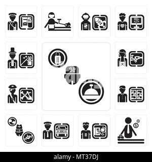 Set Of 13 simple editable icons such as Concierge, Businessman, Student, Chauffeur, Stewardess, Librarian, Pirate, Hairdresser, Magician can be used f - Stock Photo