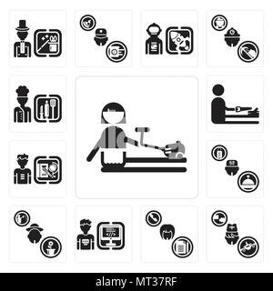 Set Of 13 simple editable icons such as Cleaner, Stewardess, Secretary, Programmer, Gardener, Concierge, Student, carpenter, Chef can be used for mobi - Stock Photo