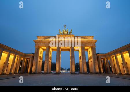 Berlin, Germany - April 4, 2017: Brandenburg Gate at sunrise in Berlin - Stock Photo