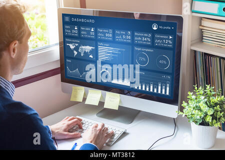 Digital marketing campaign data analytics report with metrics and key performance indicators (KPI) on information dashboard for advertisement strategy - Stock Photo