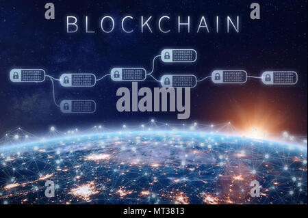 Blockchain financial technology concept with network of encrypted chain of transaction block linked around planet Earth, cryptocurrency ledger (Bitcoi - Stock Photo