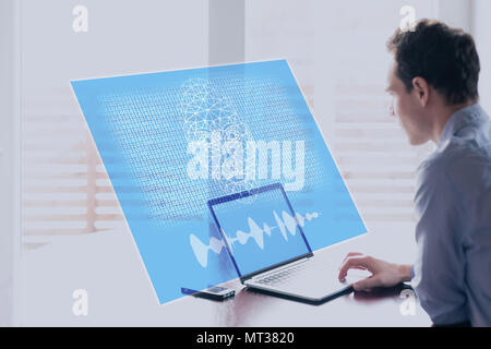 Artificial Intelligence concept with holographic robot face speaking to human on computer screen with binary code, machine learning and AI risks and t - Stock Photo