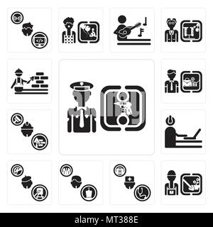 Set Of 13 simple editable icons such as Policeman, Gardener, Doctor, Politician, Painter, Programmer, Builder, Businessman, Construction worker can be - Stock Photo