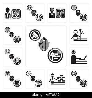 Set Of 13 simple editable icons such as Builder, Showman, Construction worker, Manager, Programmer, Painter, housekeeper, Teacher can be used for mobi - Stock Photo