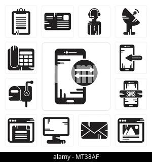 Set Of 13 simple editable icons such as Smartphone, Browser, Email, Display, Mailbox, Telephone can be used for mobile, web UI - Stock Photo