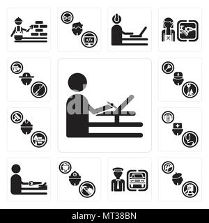 Set Of 13 simple editable icons such as De, Painter, Chauffeur, Miner, carpenter, Doctor, Builder, Plumber, Fisherman can be used for mobile, web UI - Stock Photo