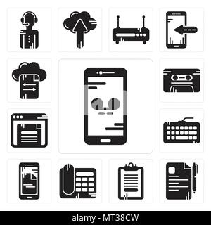 Set Of 13 simple editable icons such as Smartphone, File, Clipboard, Telephone, Keyboard, Browser, Cassette, File transfer can be used for mobile, web - Stock Photo