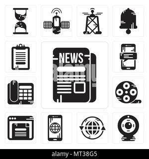 Set Of 13 simple editable icons such as Newspaper, Webcam, Earth grid, Smartphone, Browser, Film reel, Telephone, Clipboard can be used for mobile, we - Stock Photo