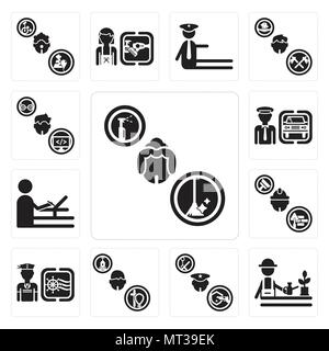 Set Of 13 simple editable icons such as Maid, Gardener, Policeman, Priest, Sailor, Builder, De, Chauffeur, Programmer can be used for mobile, web UI - Stock Photo