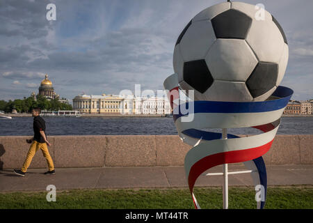 Decorative design of the University embankment in St. Petersburg before the start of the FIFA World Cup 2018, Russia - Stock Photo