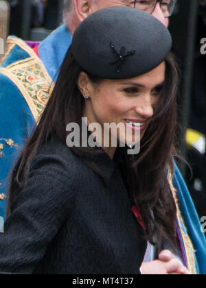 HRH Prince Harry, Megan Markle leaving Westminster Abbey following the Service of Commemoration and Thanksgiving on Anzac day.  Featuring: Megan Markle Where: London, England, United Kingdom When: 25 Apr 2018 Credit: Wheatley/WENN - Stock Photo