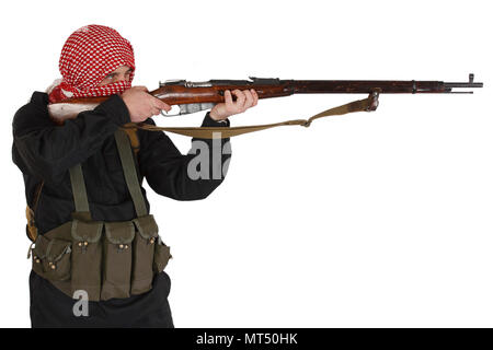 mujahid with rifle isolated on white - Stock Photo
