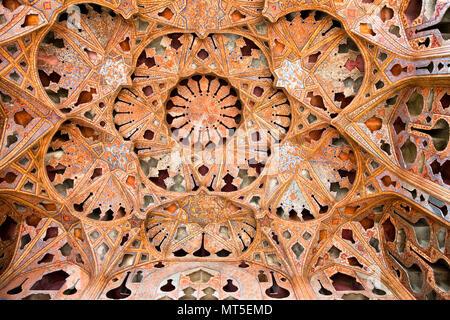 Beautiful decorated Dome of  Ali Qapu Palace, Esfahan, Isfahan, Iran - Stock Photo