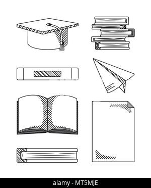 Set of hand draw education cartoons - Stock Photo