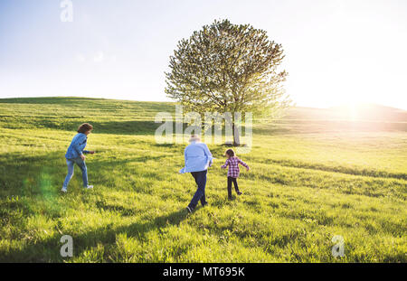 A small girl with her senior grandparents playing outside in nature. - Stock Photo
