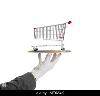 Shopping luxury service concept. Gloved hand holding a silver platter with an empty shopping cart, isolated on white background. 3d illustration - Stock Photo