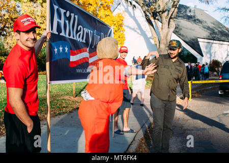 Supporters wait outside Zorn Arena in Eau Claire, Wisconsin to see presidential candidate Donald Trump speak at a rally, November 1st, 2016 - Stock Photo