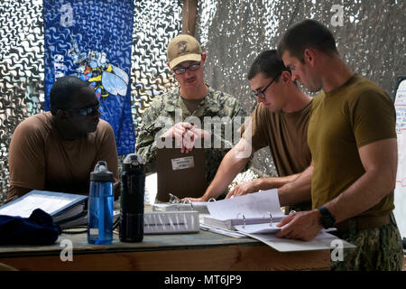 170727-N-RF885-062  CAMP LEMMONIER, Djibouti (July 27, 2017) Sailors assigned to Coastal Riverine Squadron (CRS) 1, review maintenance procedures in preparation for an upcoming inspection at Camp Lemonnier, Djibouti. Coastal riverine force are a core Navy capability that provides high value asset protection and maritime security operations in coastal and inland waterways. (U.S. Navy photo by Mass Communication Specialist 2nd Class Natalia Murillo/Released) - Stock Photo