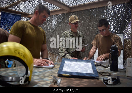 170727-N-RF885-048 CAMP LEMMONIER, Djibouti (July 27, 2017) Constructionman 1st Class Christopher Gilbert ,left, Fire Controlman 2nd Class Adam Babica,middle, and Utilitiesman 2nd Class Tyler Scruggs , all assigned to Coastal Riverine Squadron 1, review maintenance procedures in preparation for an upcoming inspection at Camp Lemonnier, Djibouti, July 27, 2017. The Coastal Riverine Force is a core Navy capability that provides high value asset protection and maritime security operations in coastal and inland waterways. (U.S. Navy photo by Mass Communication Specialist 2nd Class Natalia Murillo/ - Stock Photo