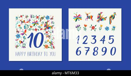 Happy birthday card template with colorful flowers and animals in otomi art style. Anniversary number set for special celebration. EPS10 vector. - Stock Photo