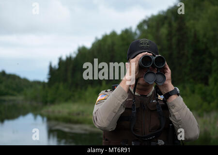 James Wendland, 673d Civil Engineer Squadron chief conservation law enforcement officer, looks off in the distance at a group of nesting loons at Joint Base Elmendorf-Richardson, Alaska, June 30, 2017. Bear encounters have been on the rise this summer at JBER and other Alaska Communities. (U.S. Air Force photo by Senior Airman Javier Alvarez) - Stock Photo