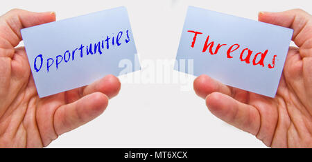 man hands holding cards with the words oppurtunities and threads for swot analysis - Stock Photo